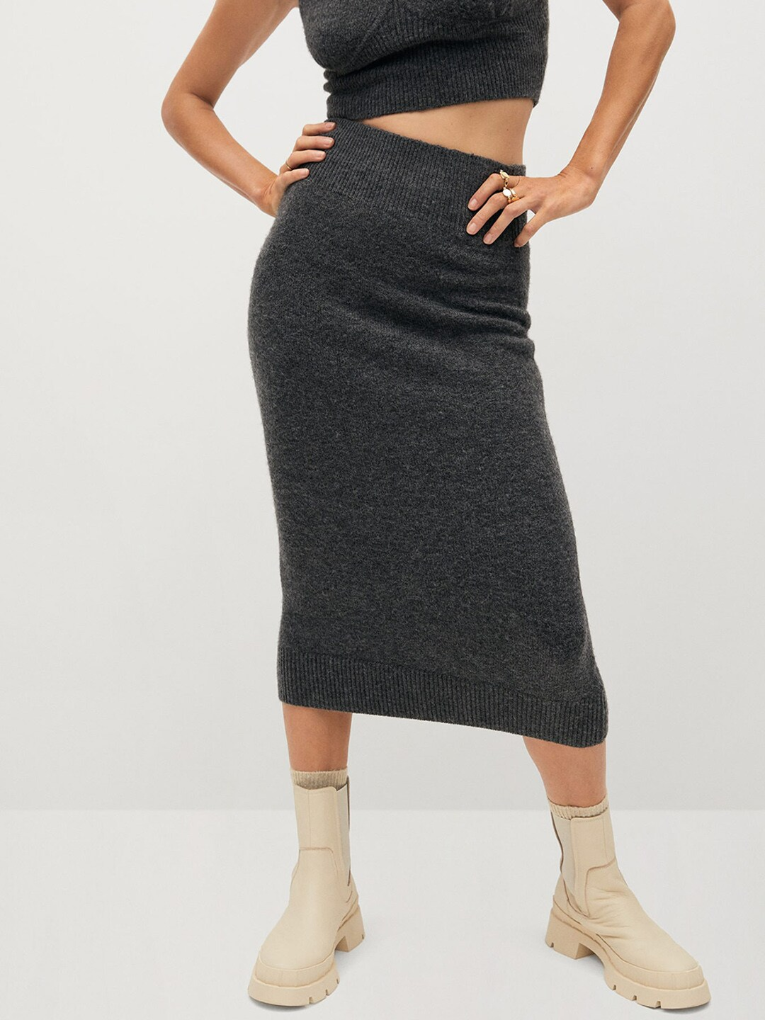 MANGO Women Charcoal Grey Solid Knitted Straight Skirt