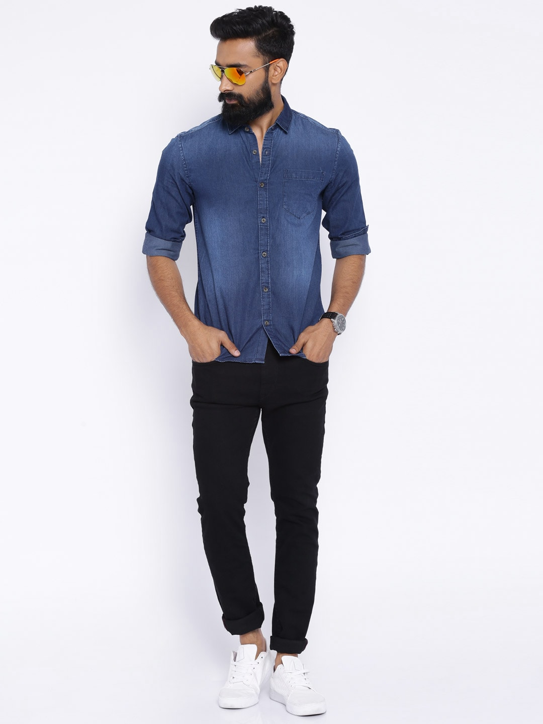 Black denim shirt mens t shirts design concept Black shirt blue jeans