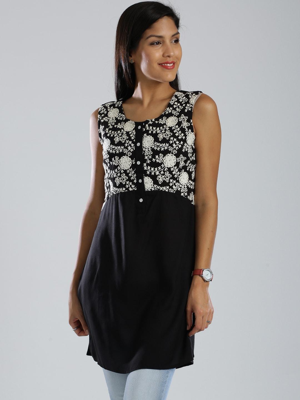 IMARA by Shraddha Kapoor Black Polyester Embroidered Tunic