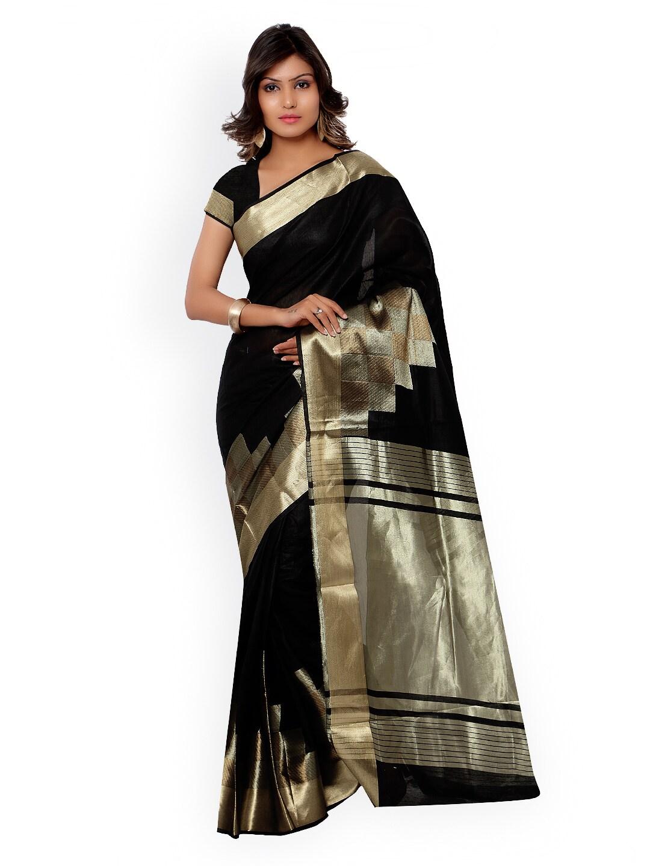 Varkala Silk Sarees Black Jacquard & Cotton Silk Traditional Saree