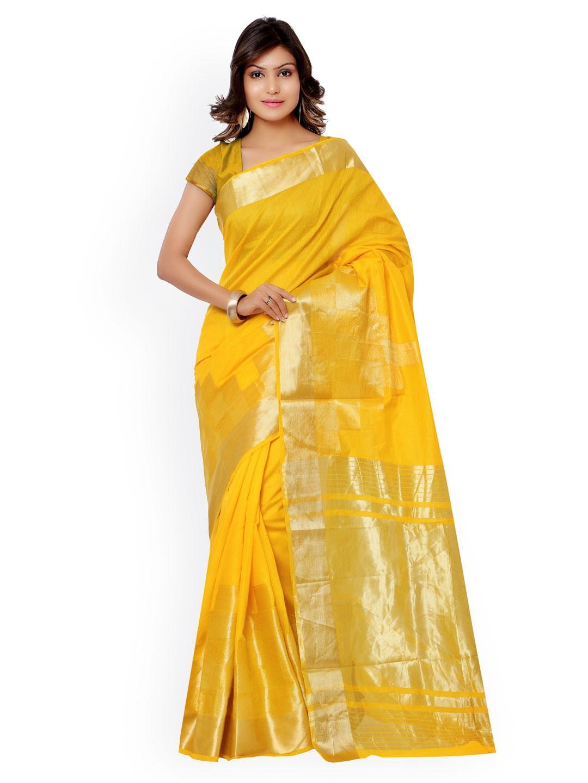Varkala Silk Sarees Yellow Banarasi Cotton Silk & Jacquard Traditional Saree