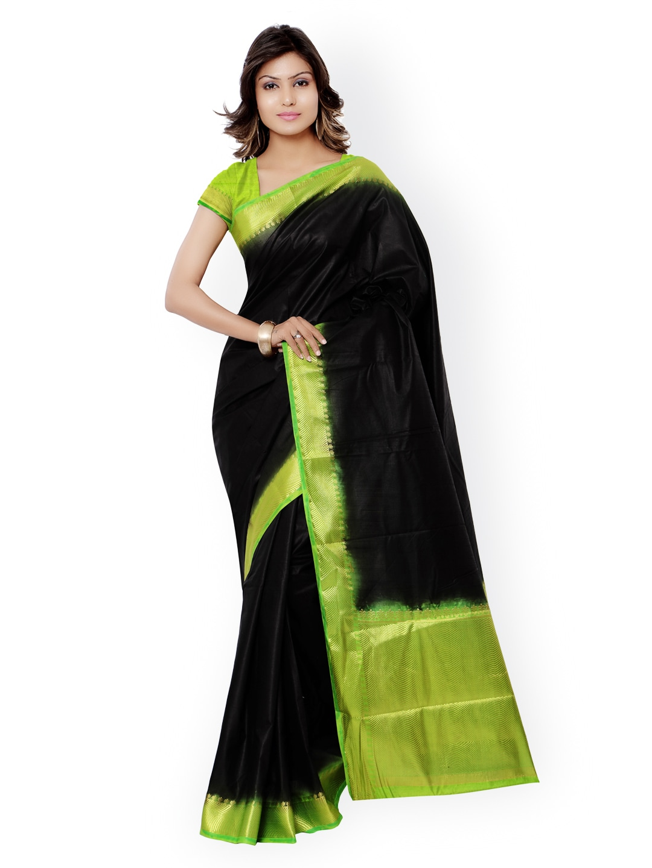 Varkala Silk Sarees Black Kanjeevaram Raw Silk & Jacquard Traditional Saree