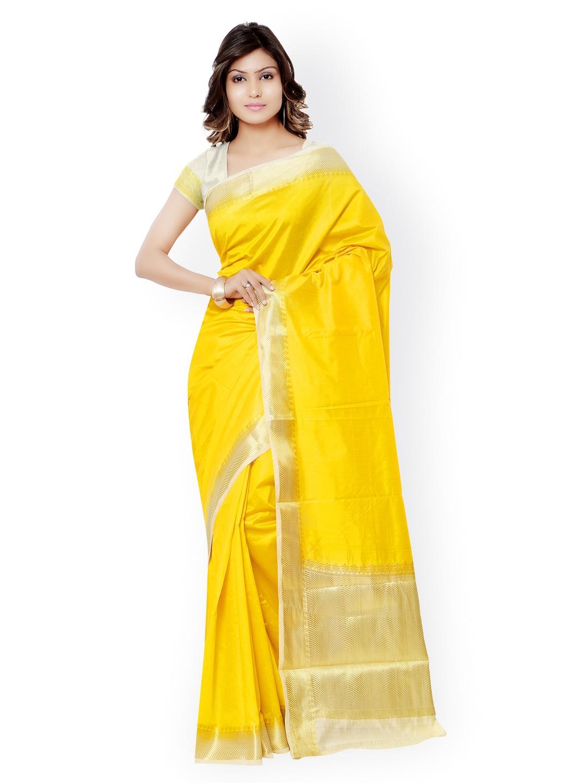 Varkala Silk Sarees Yellow Kanjeevaram Raw Silk & Jacquard Traditional Saree