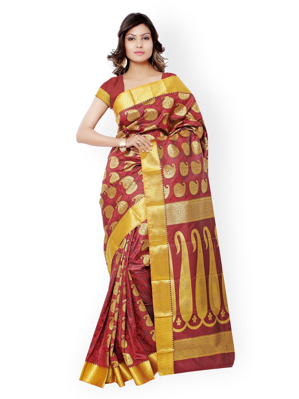 Varkala Silk Sarees Red Kanjeevaram Art Silk & Jacquard Traditional Saree