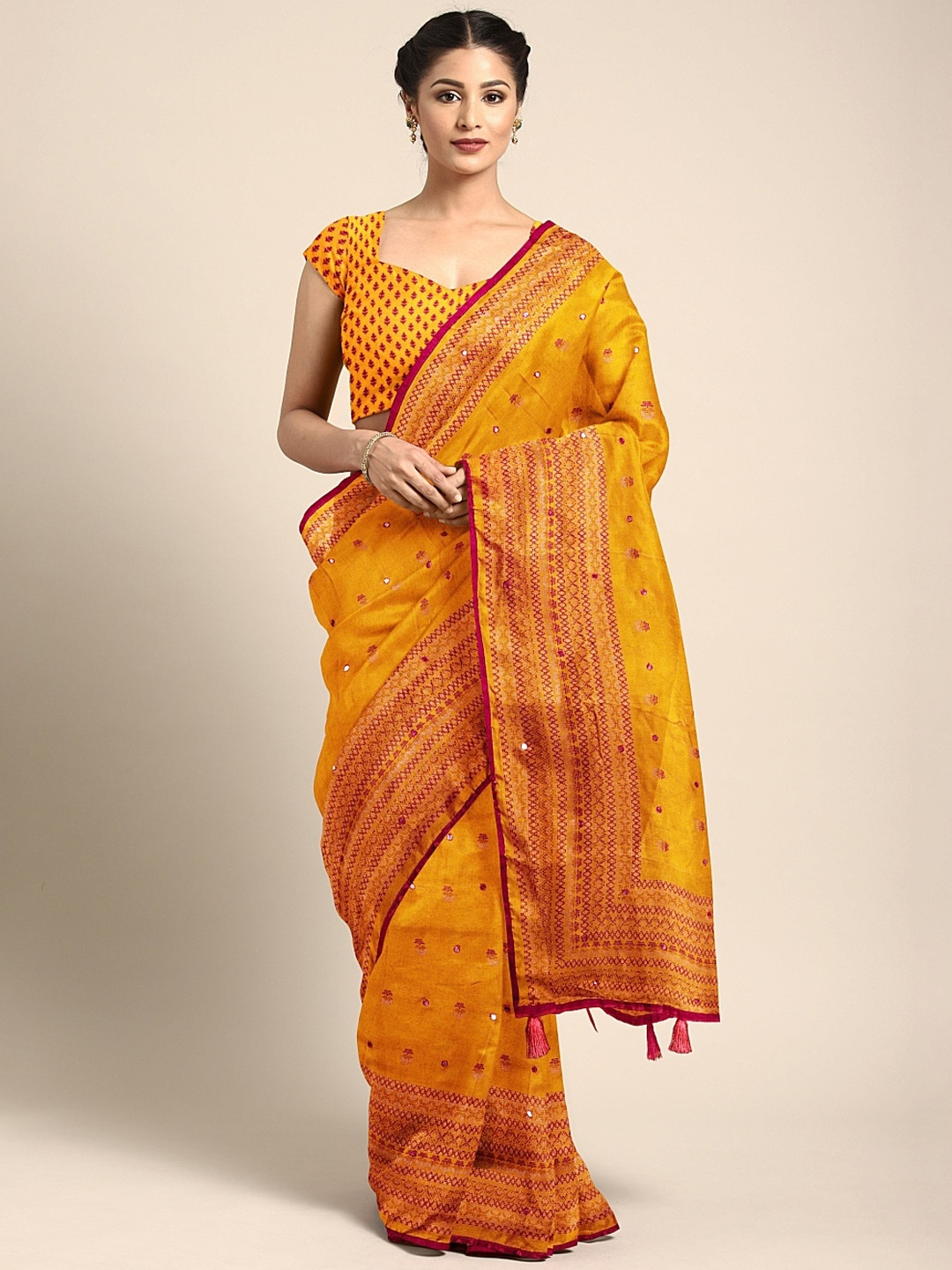 KALINI Yellow & Red Jute Silk Embroidered Saree
