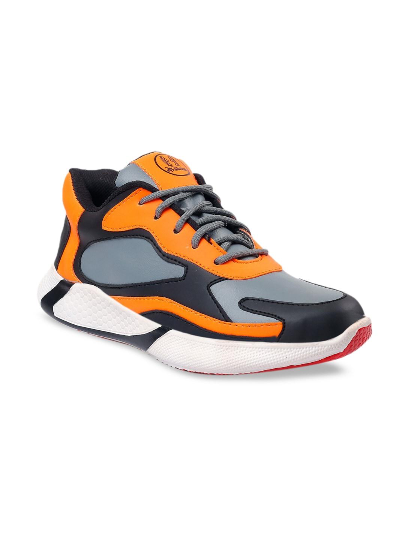 mr.wonker Men Orange & Grey Colourblocked Synthetic Mid-Top Sneakers