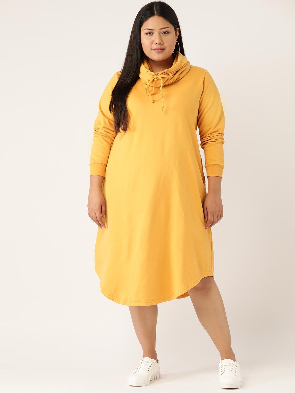 Revolution Women Plus Size Mustard Yellow Solid Hooded Sweatshirt Dress