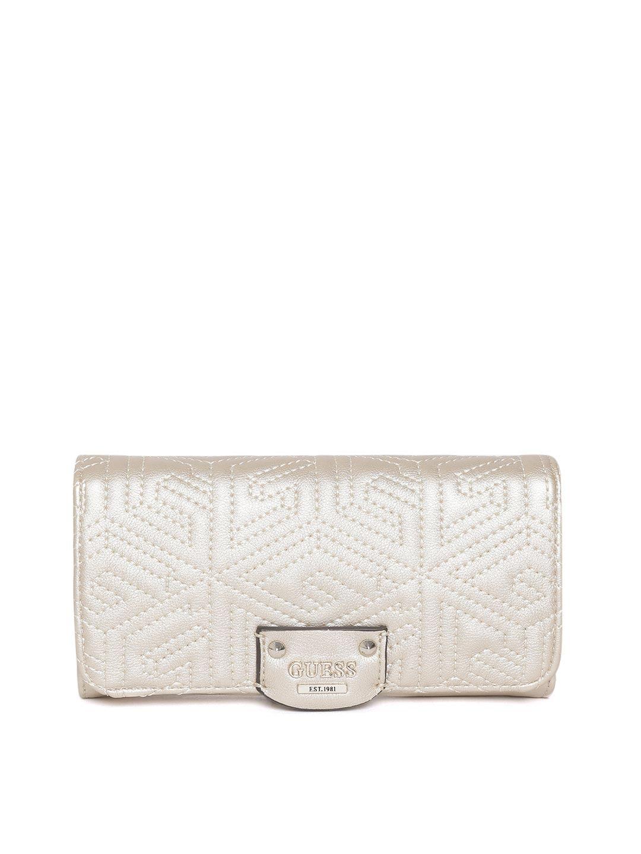 GUESS Women Beige Textured Two Fold Wallet