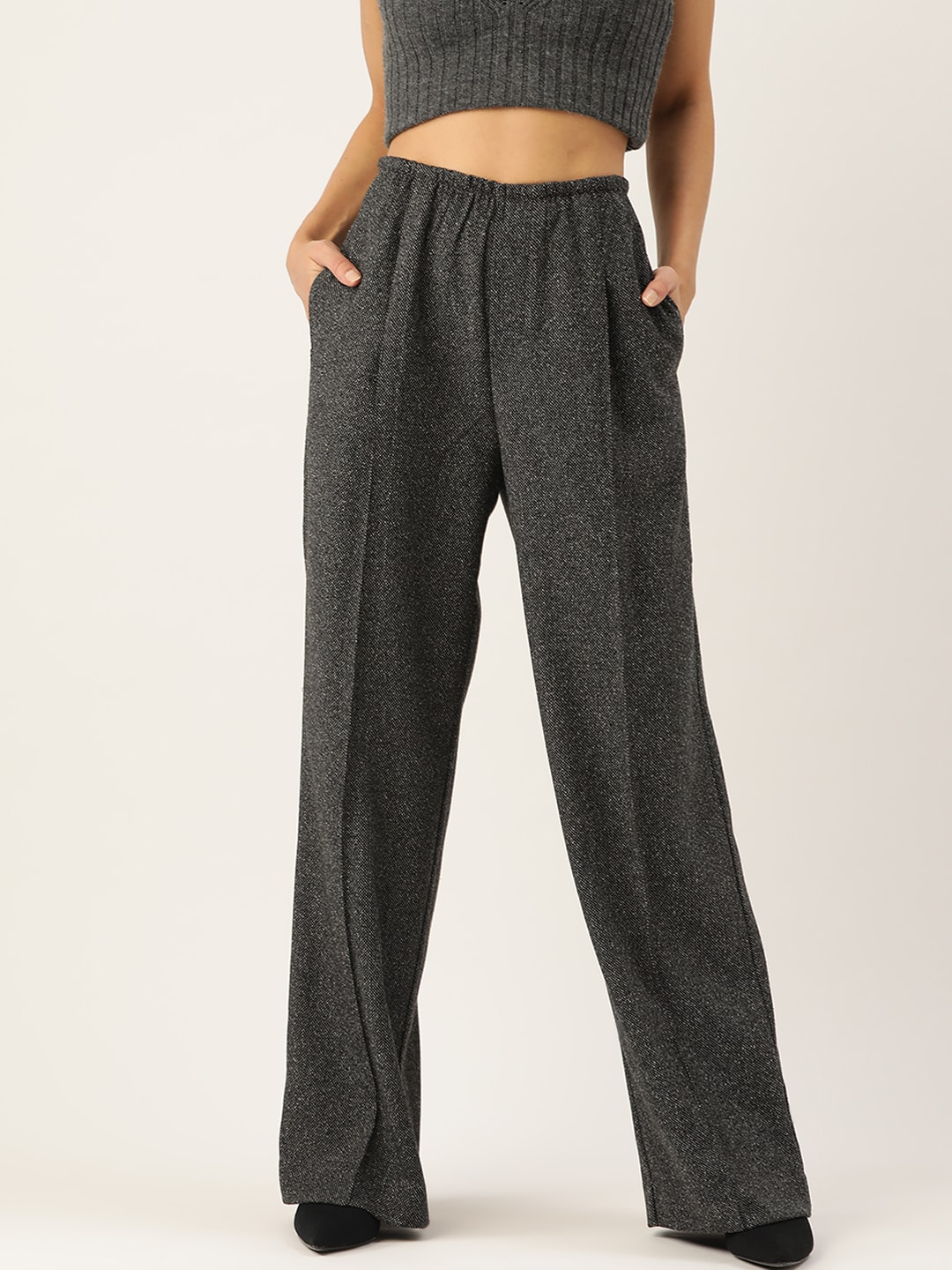 MANGO Women Charcoal Grey Regular Fit Solid Parallel Trousers