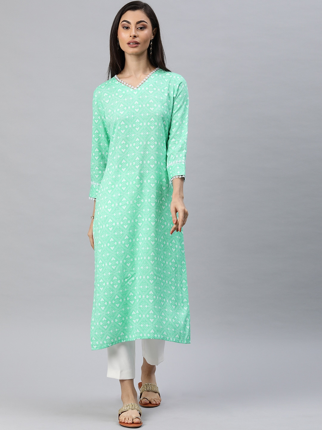AHIKA Women Green & White Printed A-Line Kurta