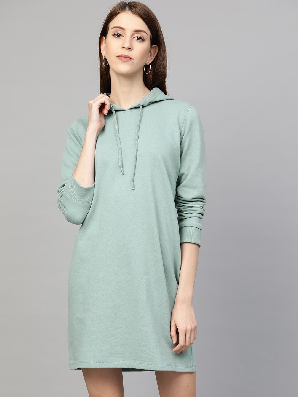 Femella Women Sea Green Solid Hooded T-Shirt Dress