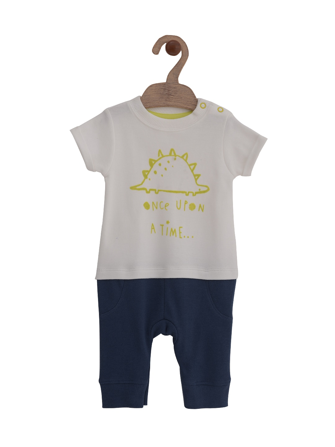 mothercare Infant Boys White & Navy Printed Rompers