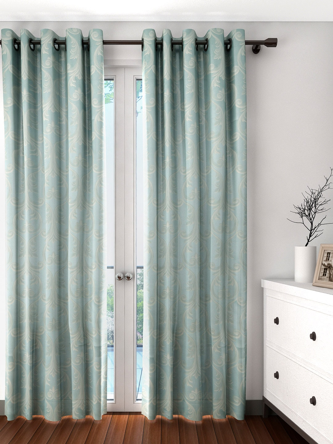 Long patterned curtains - Blue Patterned Curtains Curtains Buy Window Curtains Door Curtains Sheers Online Myntra