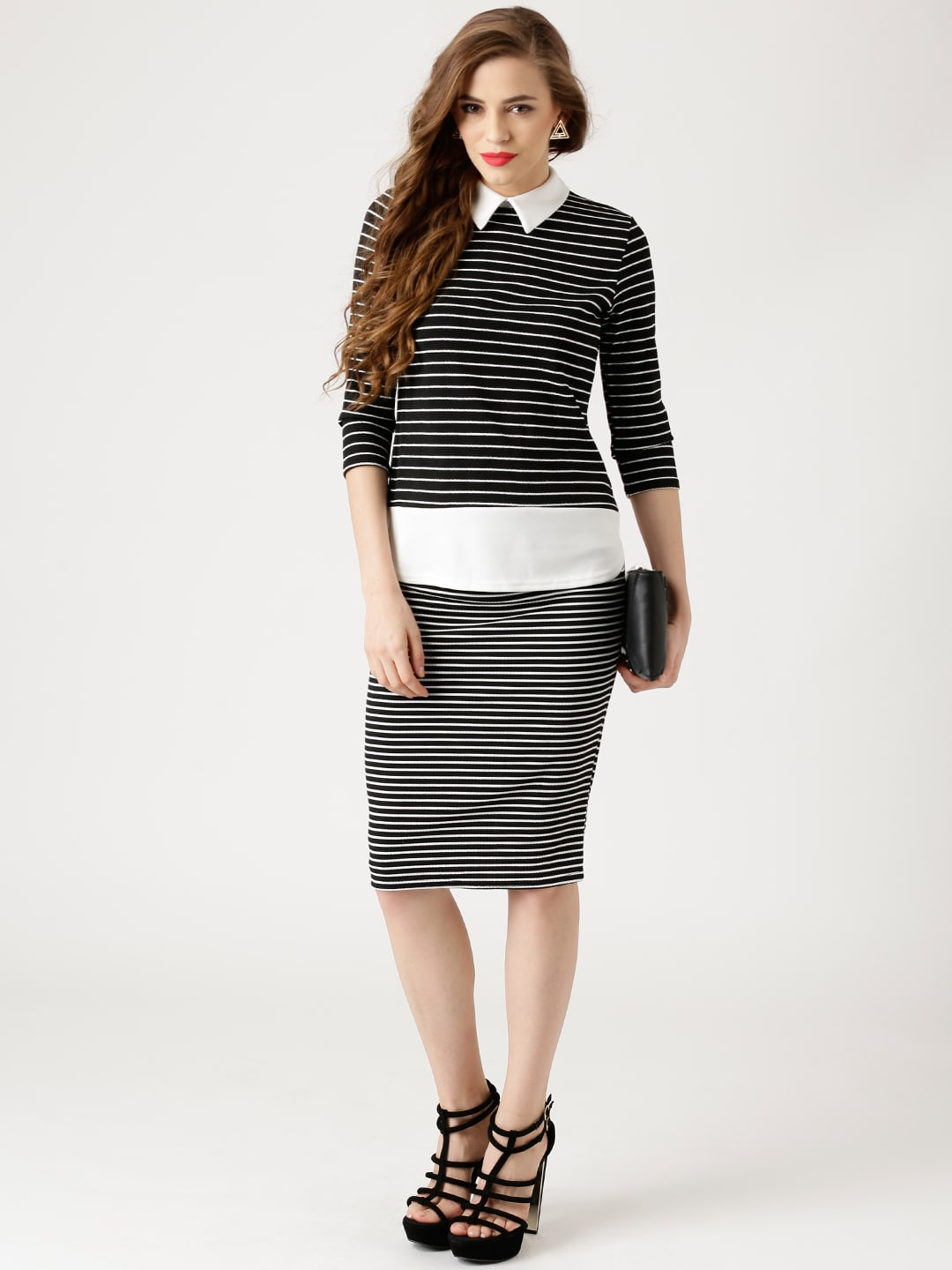 Black and white striped midi pencil skirt – The most popular ...