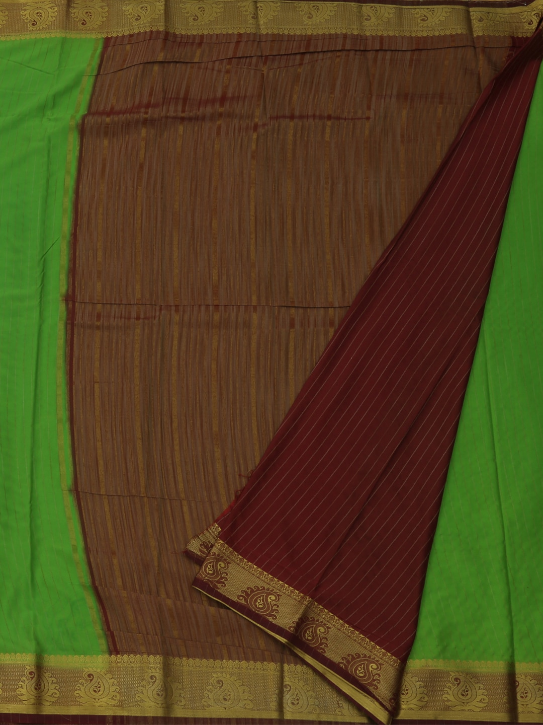 Pothys Green Solid Poly Georgette Saree