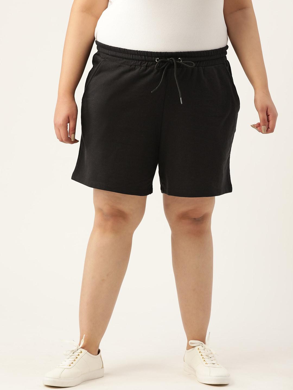 Sztori Women Plus Size Black Solid Regular Fit Shorts