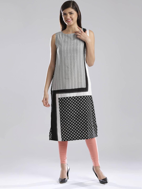 W White & Black Polyester Printed Kurta