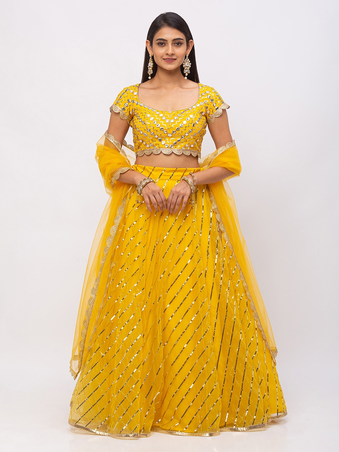 6Y COLLECTIVE Women Mustard Yellow Leheriya Patterned Sequin Embroidered Net Ready to Wear Lehenga & Unstitched Choli with Dupatta