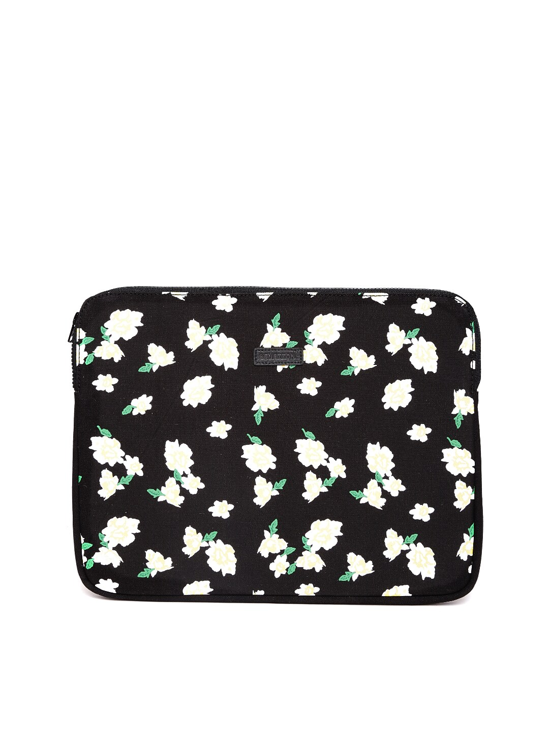 United Colors of Benetton Women Black Floral Print Laptop Sleeve