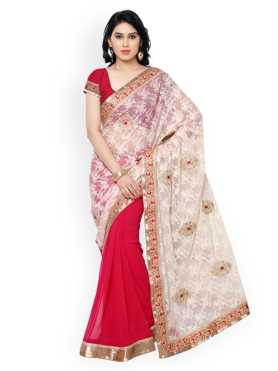 subhash sarees Cream-Coloured & Pink Embroidered Net Embellished Saree