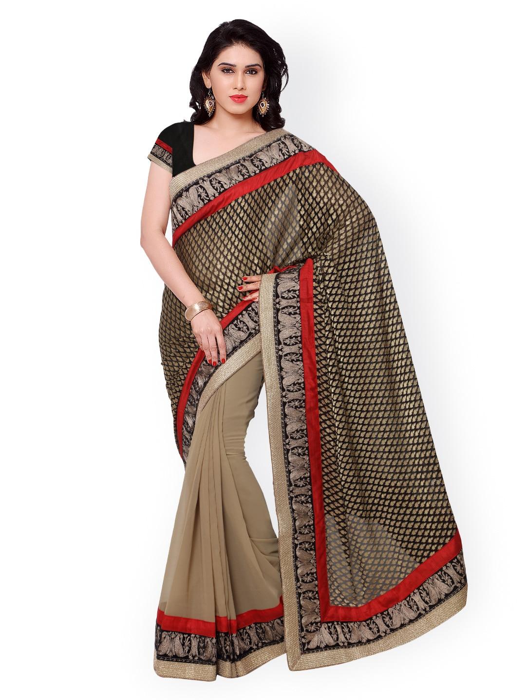 subhash sarees Black & Beige Printed Jacquard Saree