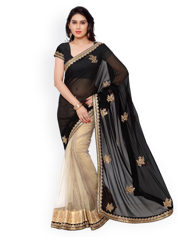 subhash sarees Black & Beige Embroidered Georgette Saree