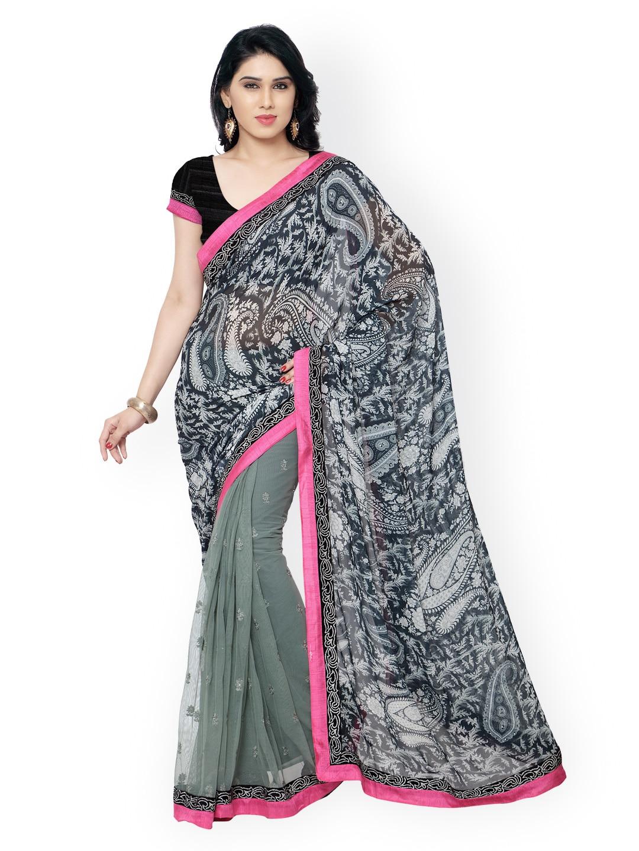 subhash sarees Grey Printed Chiffon Embellished Saree