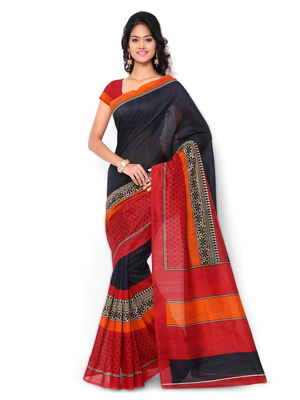 subhash sarees Grey & Red Printed Pure Bhagalpuri Silk Traditional Saree