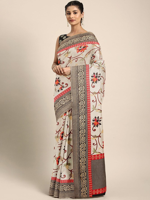 KALINI Multicoloured Floral Printed Khadi Saree