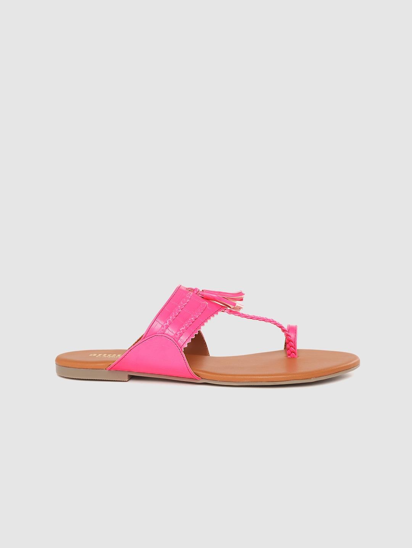 Anouk Women Neon Pink Braided & Tasselled One Toe Flats