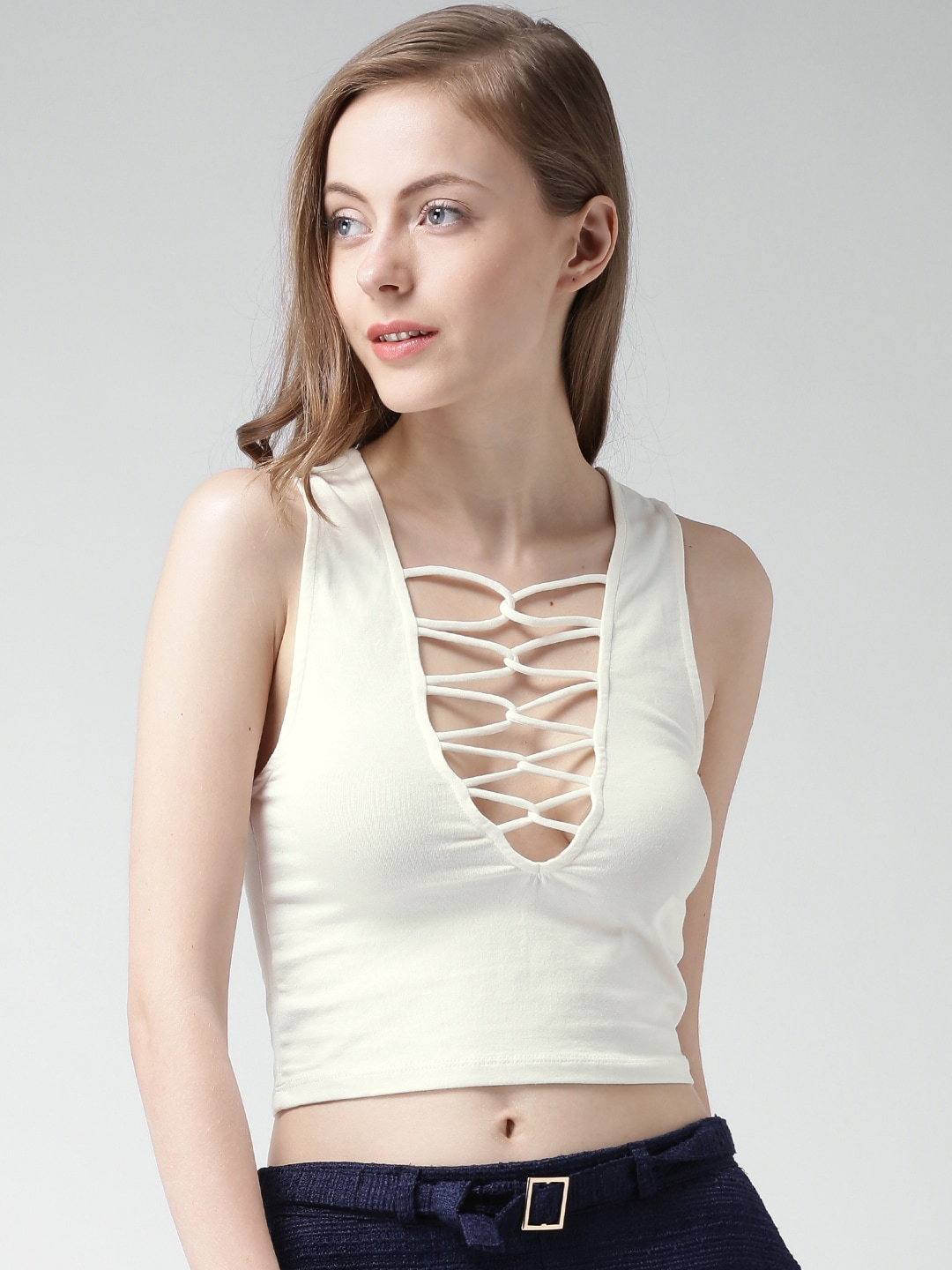 Buy FOREVER 21 Off White Strap Detail Crop Top