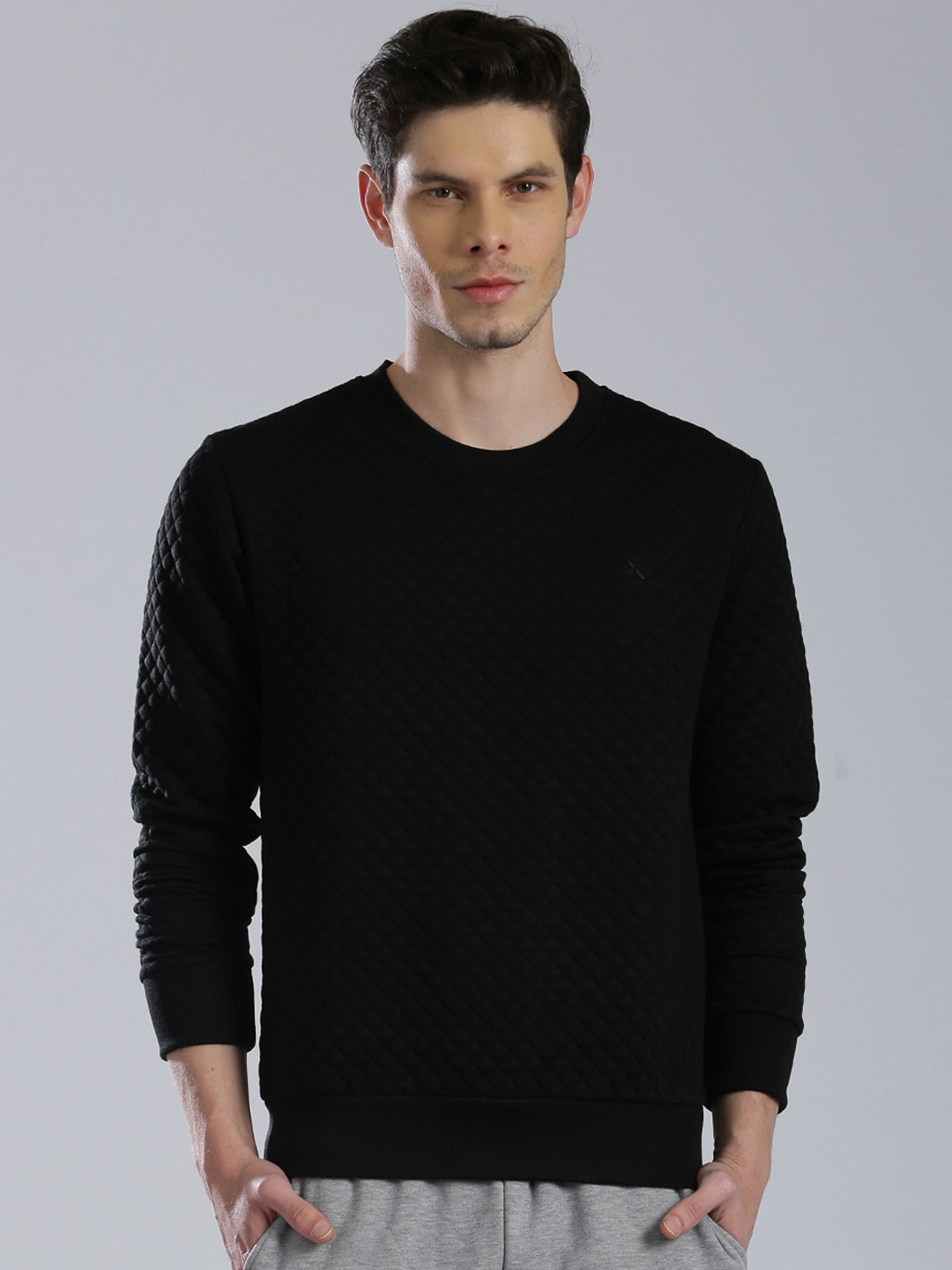 HRX by Hrithik Roshan Black Quilted Sweatshirt