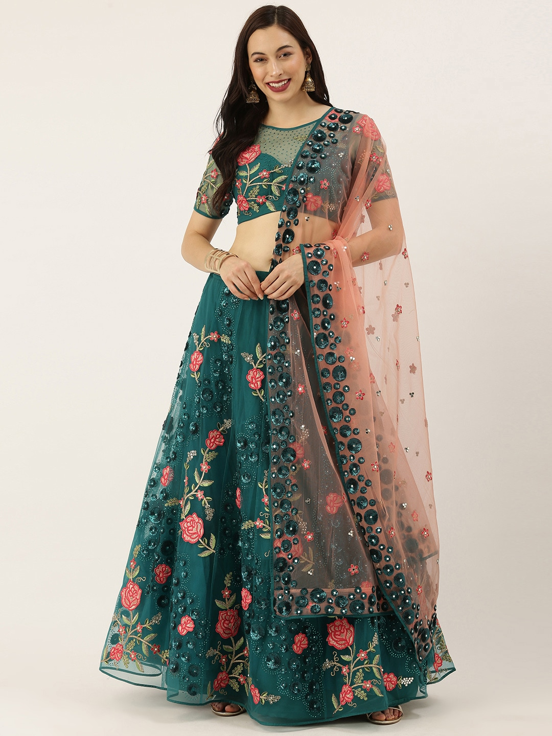 panchhi Green & Pink Embroidered Semi-Stitched Lehenga & Unstitched Blouse with Dupatta