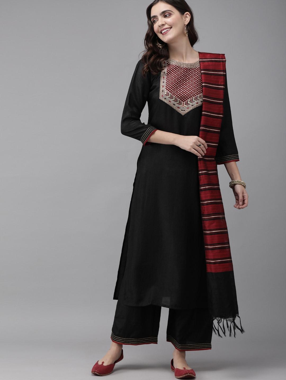 Indo Era Women Black & Maroon Yoke Design Kurta with Palazzos & Dupatta