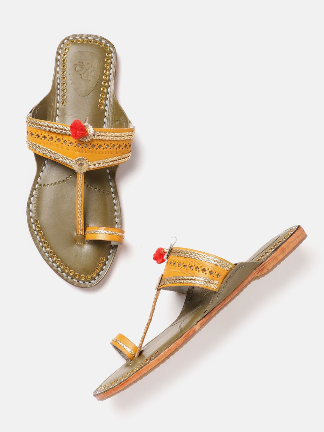 House of Pataudi Women Mustard Yellow & Gold-Toned Woven Design Handcrafted One Toe Flats