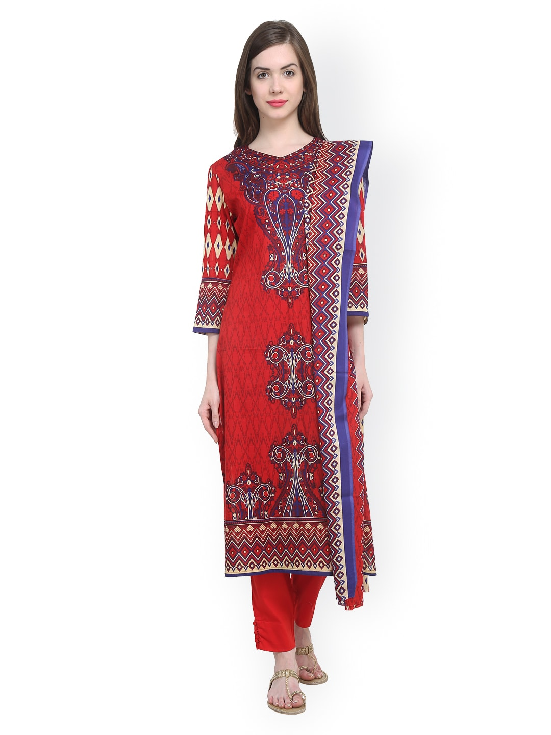 Uptown Galeria Red Printed Pakistani Cotton Lawn Unstitched Dress Material