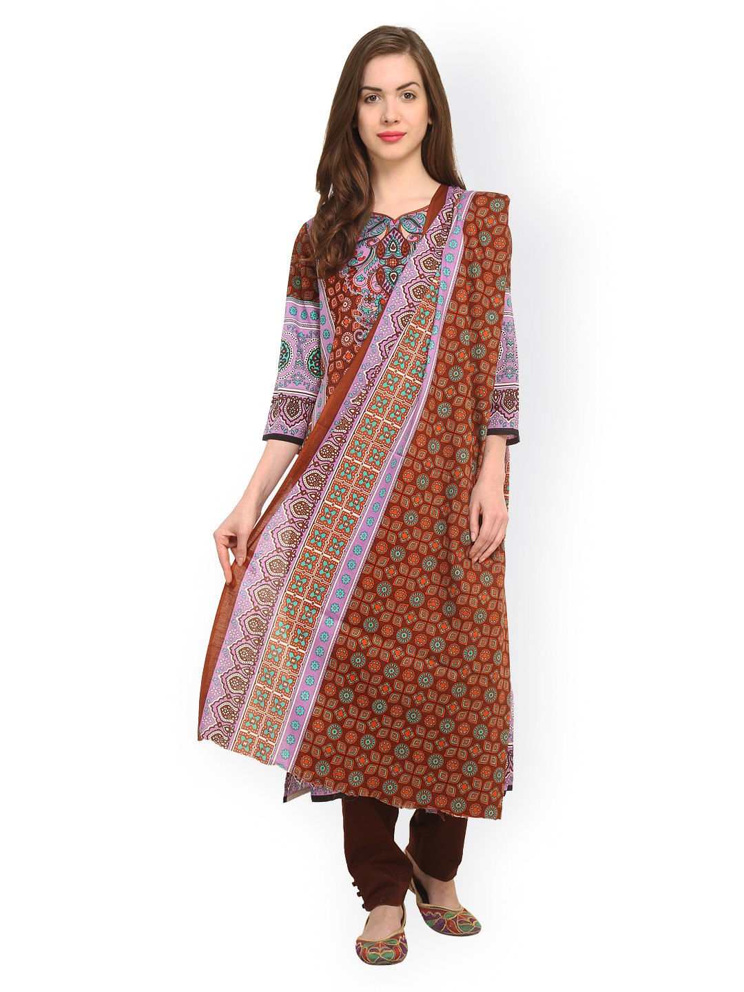 Uptown Galeria Brown Printed Pakistani Cotton Lawn Unstitched Dress Material