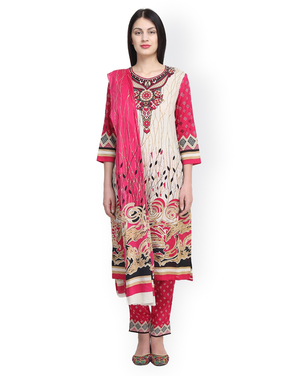 Uptown Galeria White & Pink Printed Pakistani Cotton Lawn Unstitched Dress Material