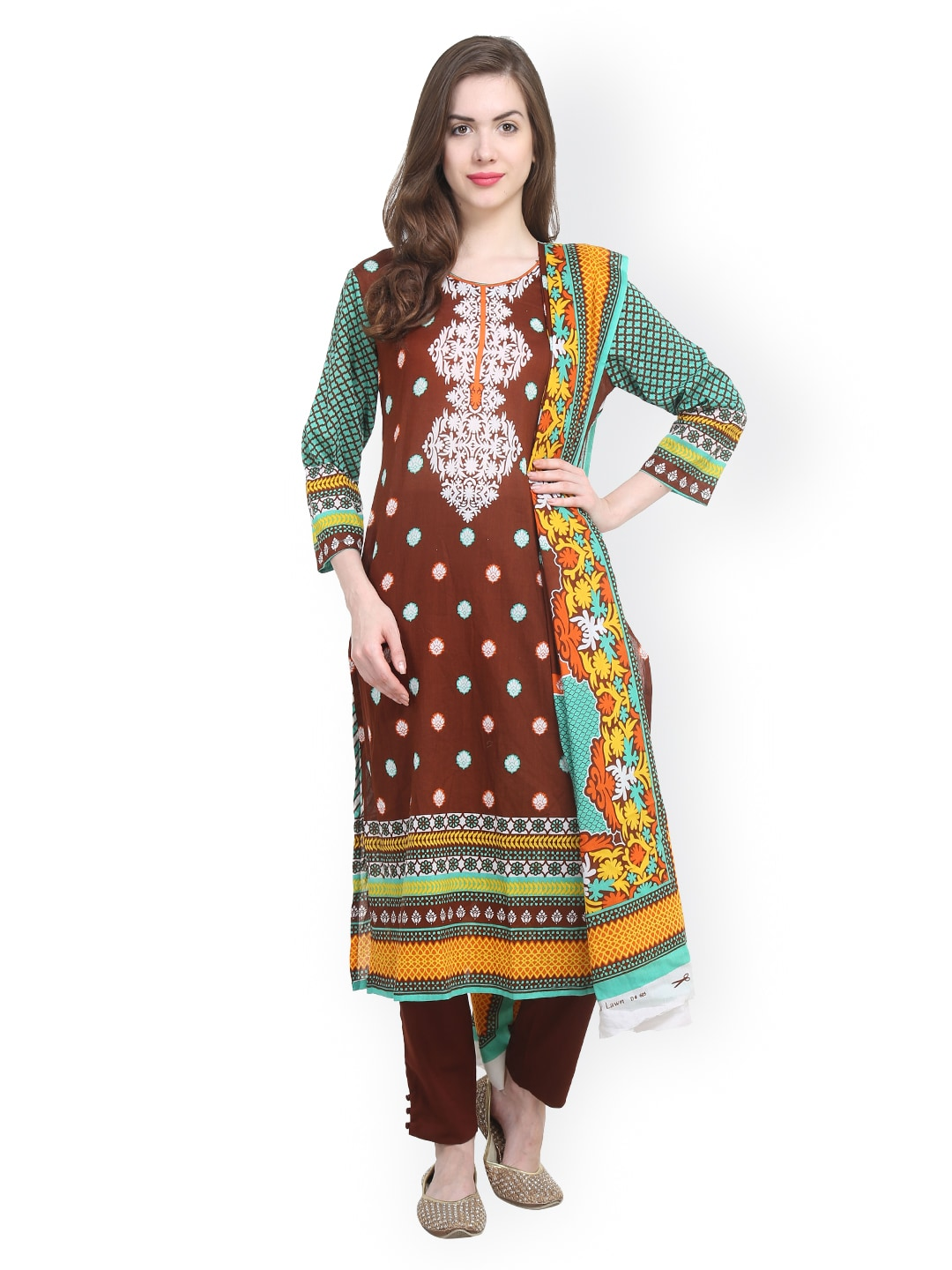 Uptown Galeria Brown & Green Printed Pakistani Cotton Lawn Unstitched Dress Material