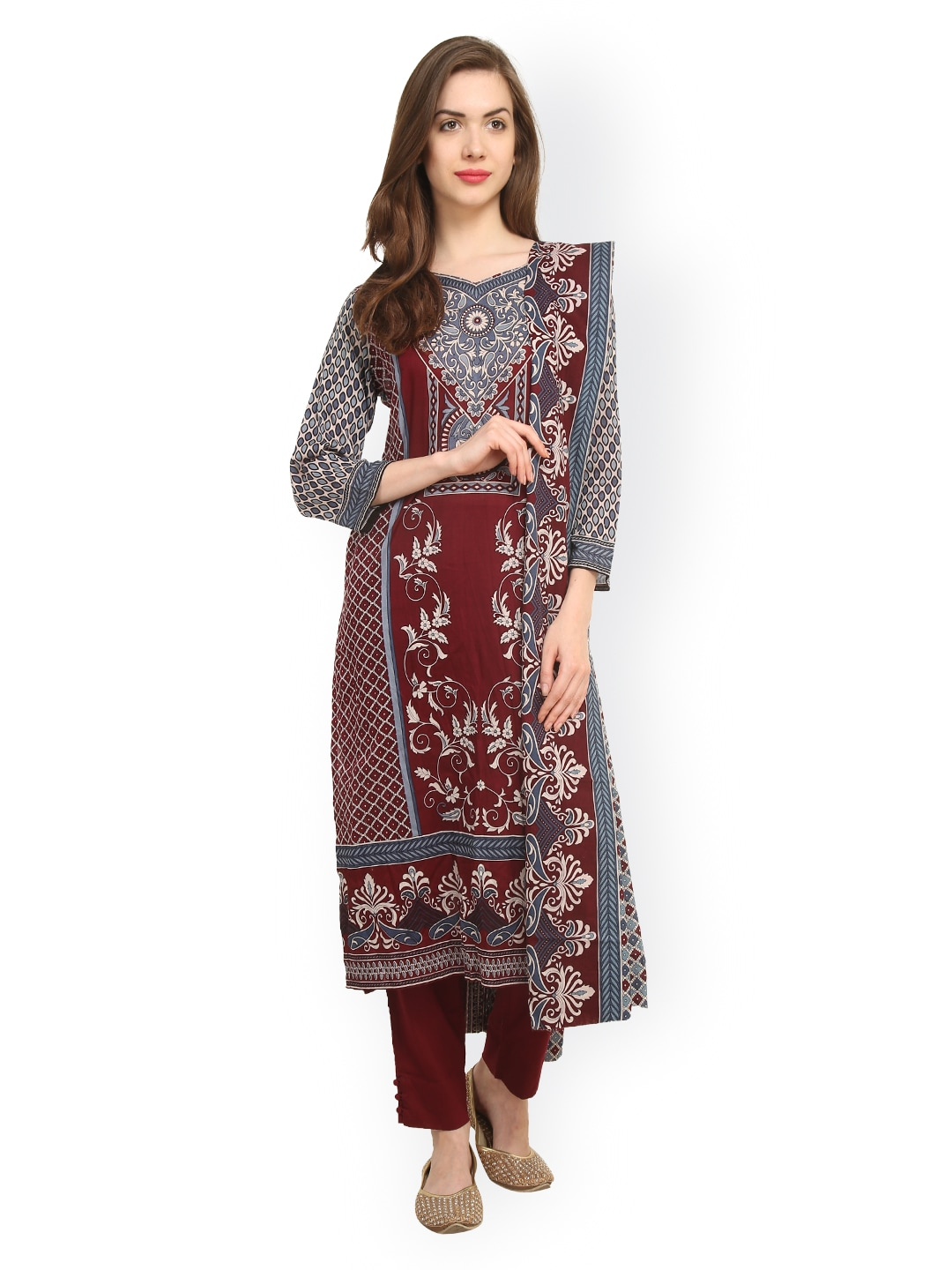 Uptown Galeria Maroon & Grey Printed Pakistani Cotton Lawn Unstitched Dress Material