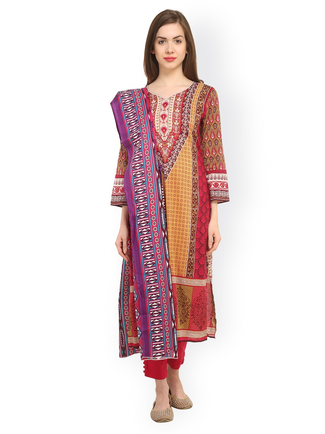 Uptown Galeria Brown & Pink Printed Pakistani Cotton Lawn Unstitched Dress Material
