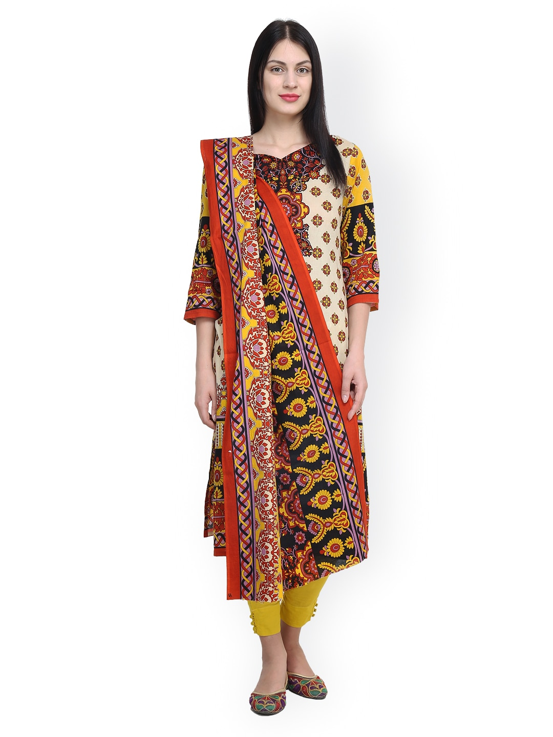 Uptown Galeria White & Yellow Printed Pakistani Cotton Lawn Unstitched Dress Material