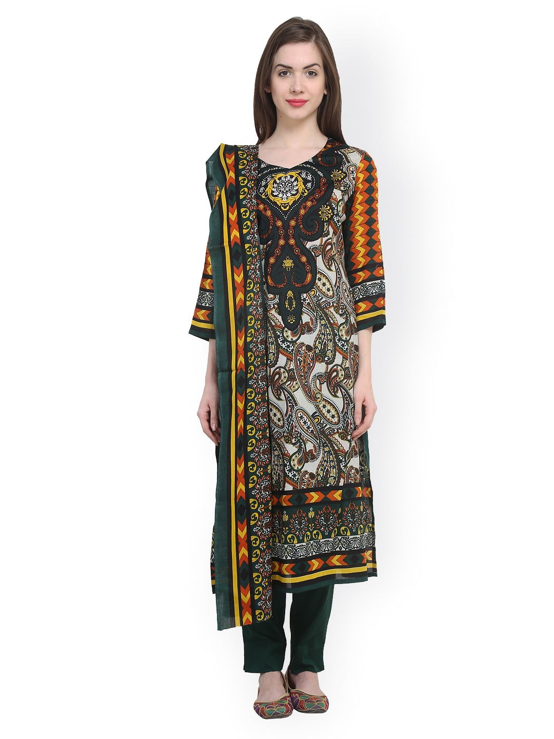 Uptown Galeria Green Printed Pakistani Cotton Lawn Unstitched Dress Material