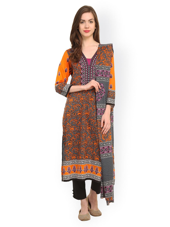 Uptown Galeria Orange & Black Printed Pakistani Cotton Lawn Unstitched Dress Material