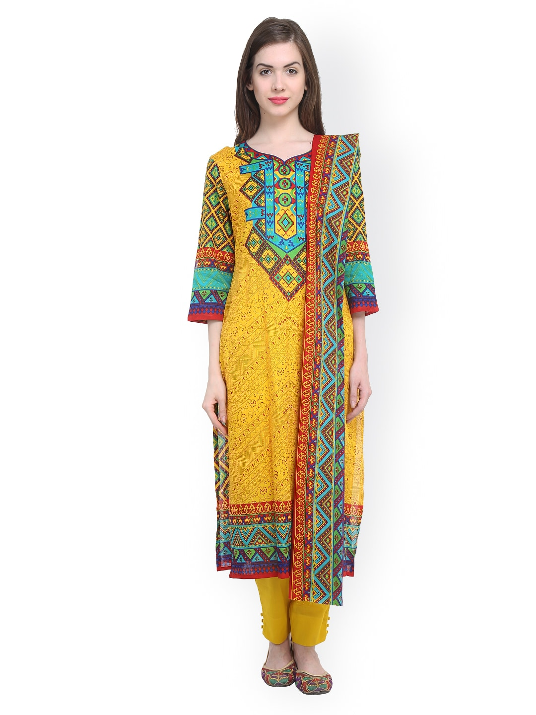 Uptown Galeria Yellow Printed Pakistani Cotton Lawn Unstitched Dress Material