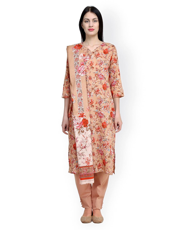 Uptown Galeria Beige Floral Print Pakistani Cotton Lawn Unstitched Dress Material
