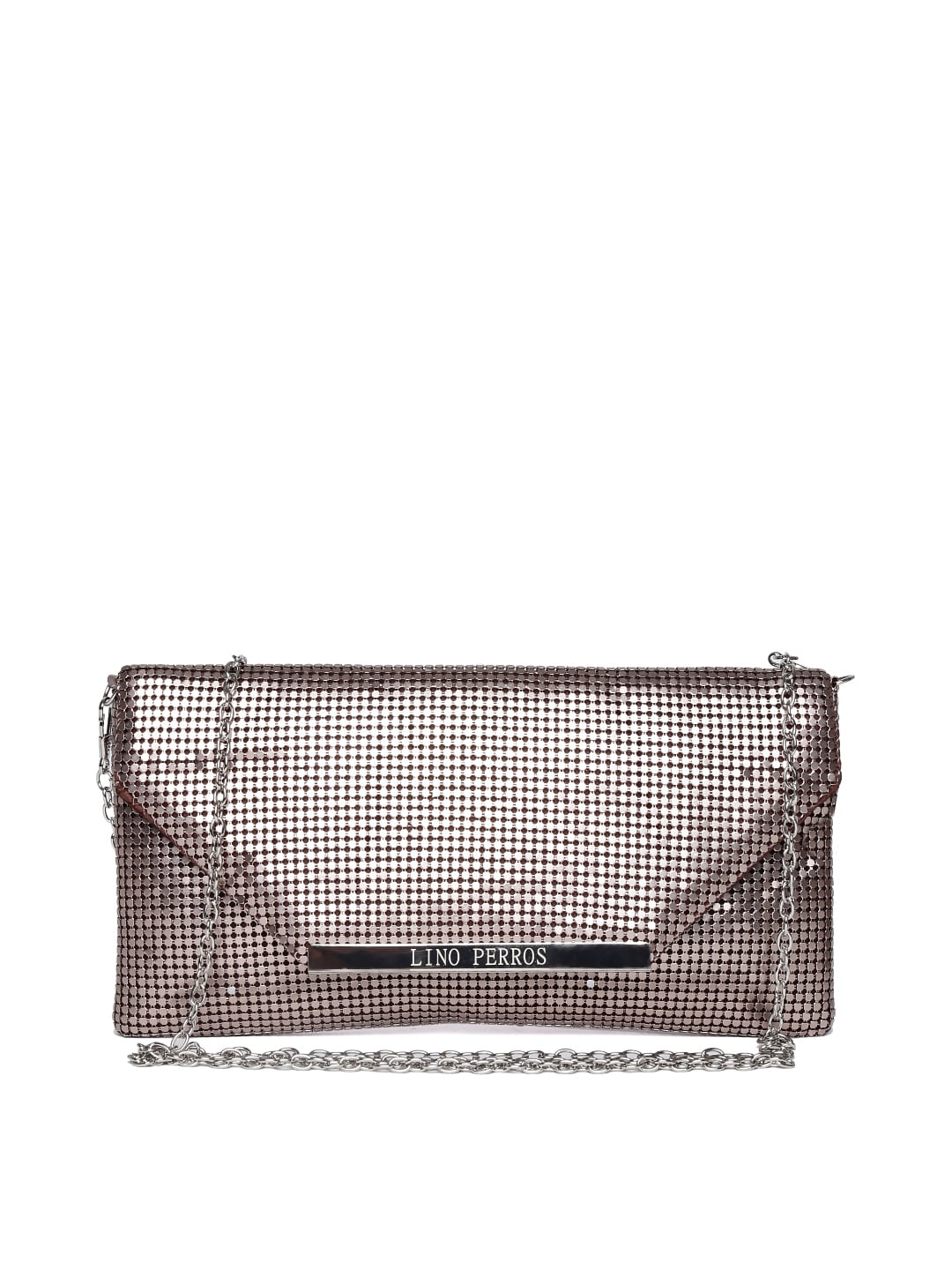 Lisa Haydon for Lino Perros Bronze Dual-Toned Clutch with Chain Strap
