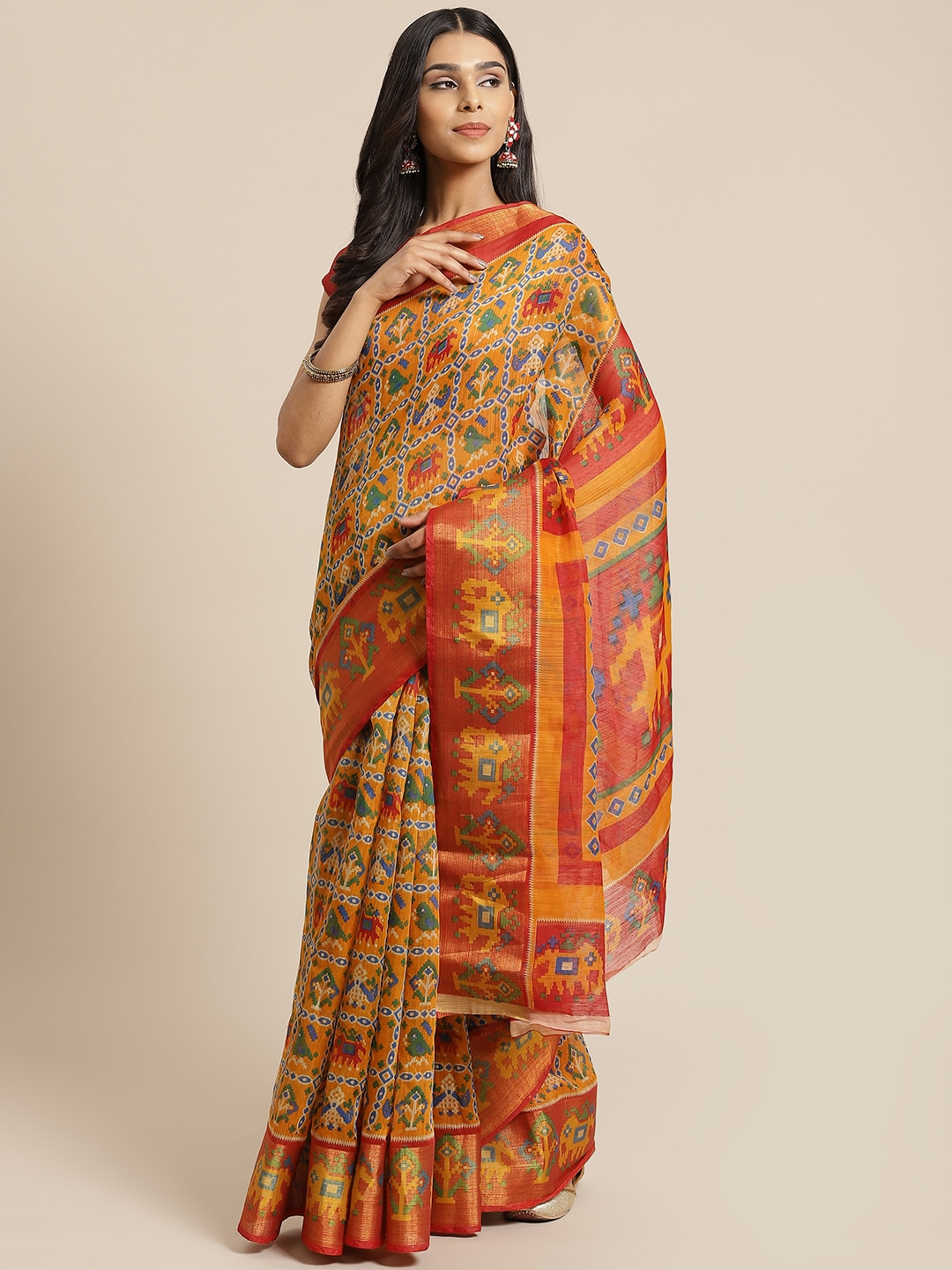 KALINI Mustard Yellow & Blue Printed Saree
