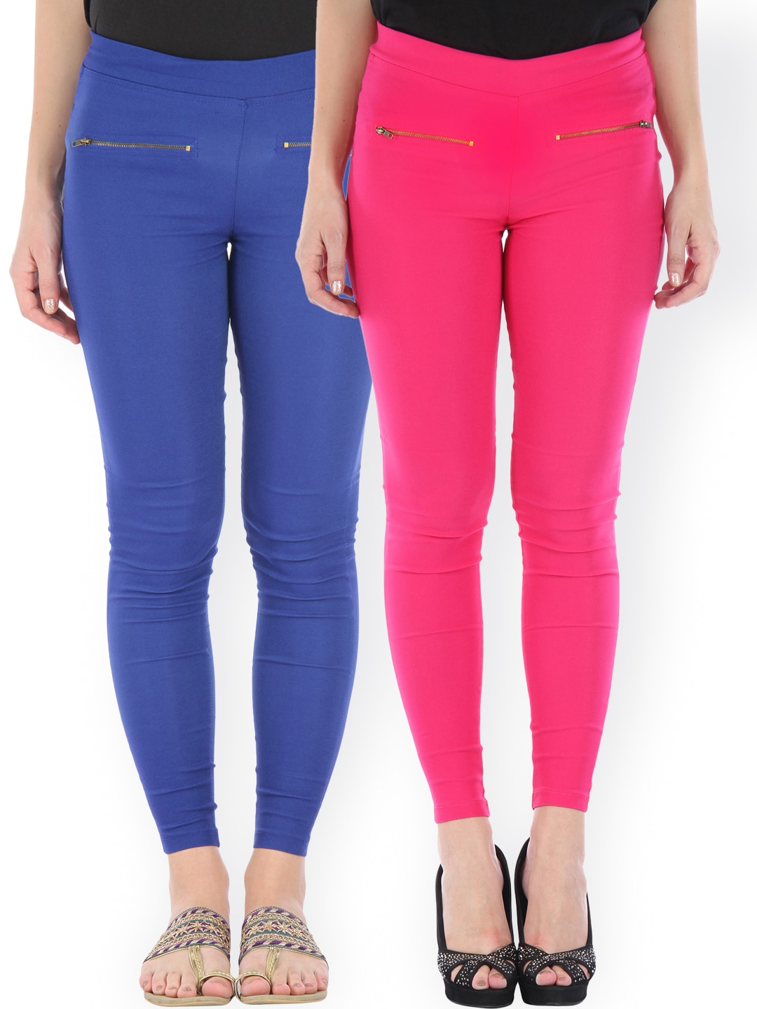 Bitterlime Pack of 2 Skinny Fit Jeggings
