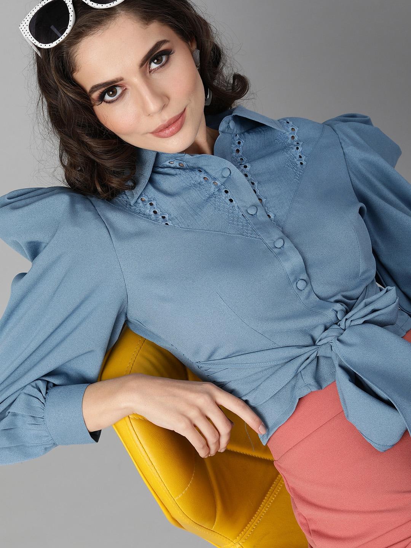 KASSUALLY Women Blue Solid Regular Fit Casual Crop Shirt